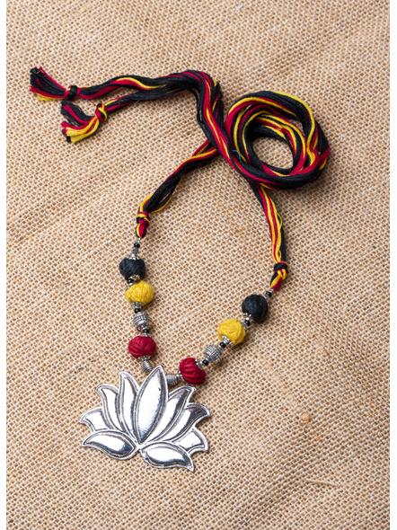 Lotus Neckpiece with Cotton Balls and Thread-LAA-NL-024