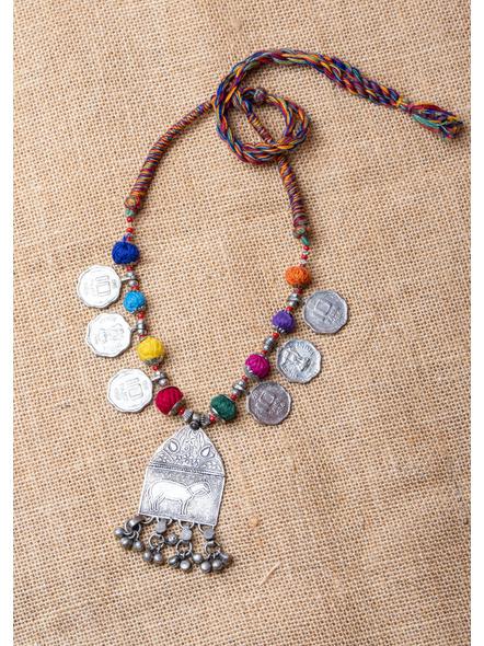 Tribal Pendant with Coins and Multi-colour Thread-LAA-NL-017
