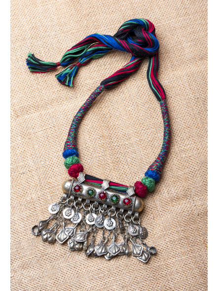 Amulet Afghan Pendant with Cotton Thread Balls and Designer Back Dori-LAA-NL-022