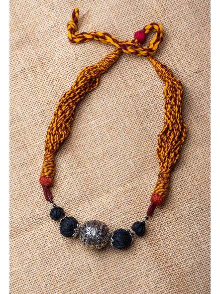 GS Focal Bead with Black Thread Ball and Rust Colour Dori-LAA-NL-016