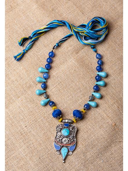 Handmade Tibetan Pendant with Turquoise Drop Onyx and Cotton Thread-LAA-NL-025