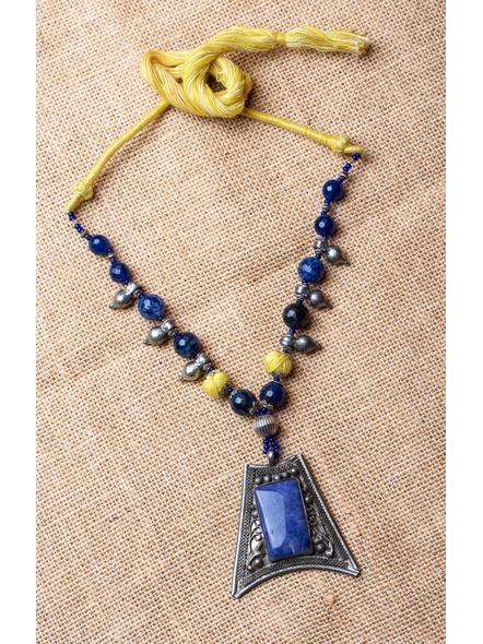 Blue Onyx Semi Precious Pendant with Blue Onyx and GS Finding with Yellow Dori-LAA-NL-018