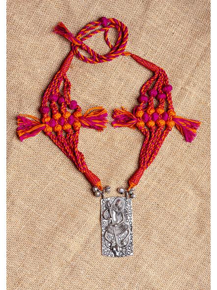 GermanSilver Tribal Devi Pendant Neckpiece with Pink Orange Designer Back Dori-LAA-NL-014
