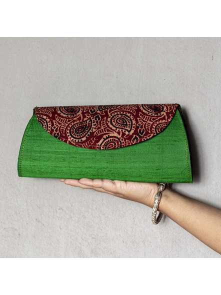Handcrafted Green Dupion Silk Ajrakh Clutch-LAAHDSC001