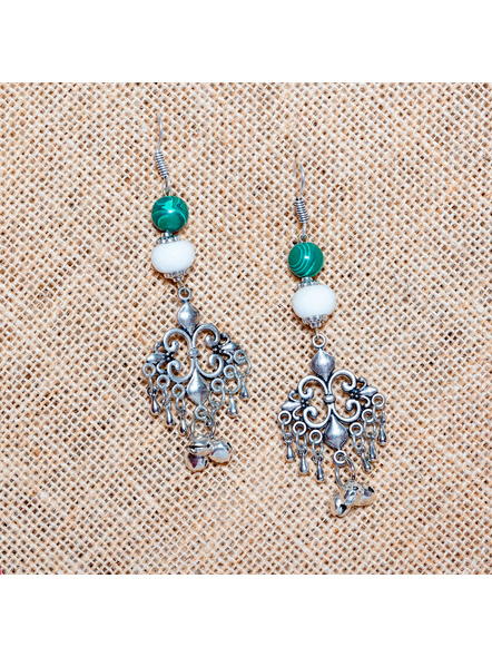 Handcrafted Malachite with German Silver Charm Dangler Earrings-LAA-ER-014