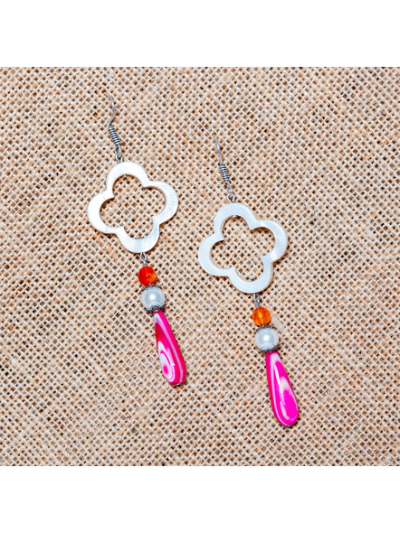 Handcrafted Floral Frame Mother of Pearl with Agate Pink Drop Dangler Earrings-LAA-ER-016