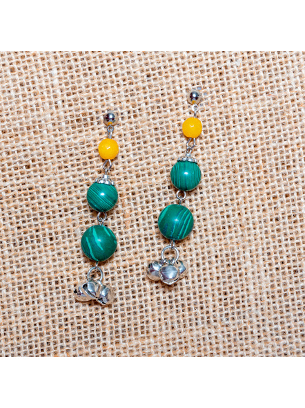 Greenish Desire - Jade Malachite  with Ghungoor Earrings-LAA-ER-020