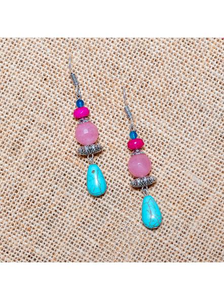 Onyx Jade Rose Quartz Turquoise with German Silver Bead Earrings-LAA-ER-011
