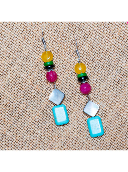Jade Onyx Agate with Mother of Pearl & Turquoise Earrings-LAA-ER-024