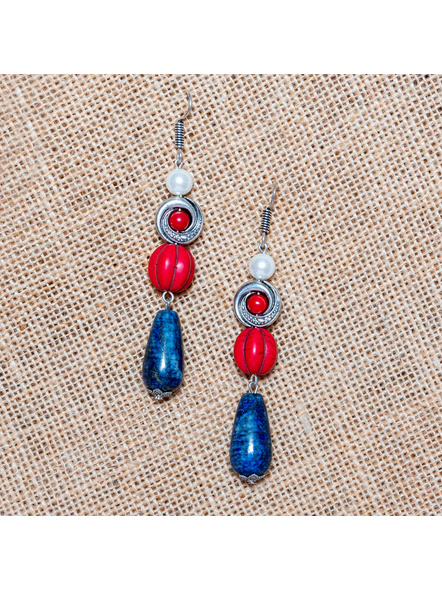 Stylish Lapis with Howlite and Shell Pearl Dangler Earrings-LAA-ER-015
