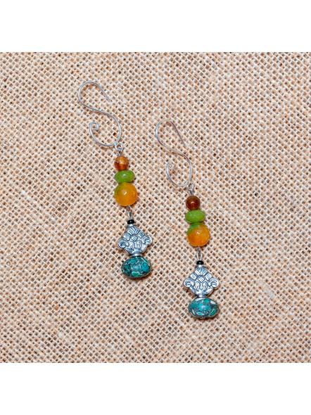 Jade Onyx with German Silver & Turquoise Dangler Earrings-LAA-ER-008