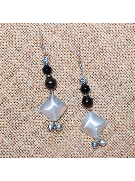 Handcrafted Harmony in Black and White - Agate , Onyx , German Silver, Ghungoor Earrings-LAA-ER-017