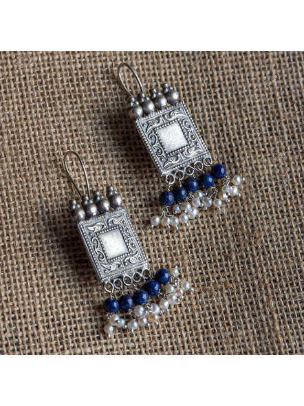 92.5 Pure Silver Square Dangler with Lapis and Fresh Water Pearl-LAA-ER-027