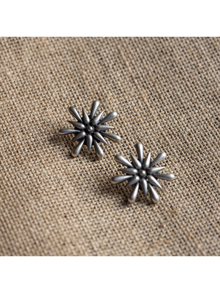 92.5 Pure Silver Starry Floral Stud-LAA-ER-030