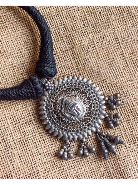 92.5 Pure Silver Maa Durga Pendant with Black Cotton Dori Neckpiece-LAA-NL-034
