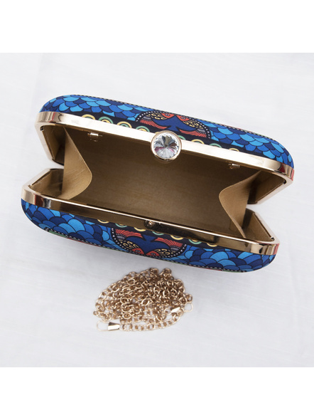 Handcrafted American Crepe Square Blue Madhubani Fish Clutch-LAA-CLUTCH-009