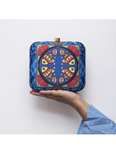 Handcrafted American Crepe Square Blue Madhubani Fish Clutch-1