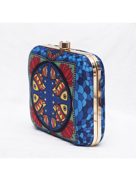 Handcrafted American Crepe Square Blue Madhubani Fish Clutch-2