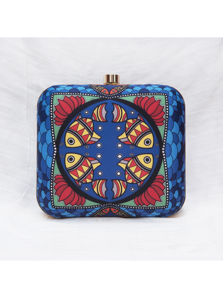 Handcrafted American Crepe Square Blue Madhubani Fish Clutch-3