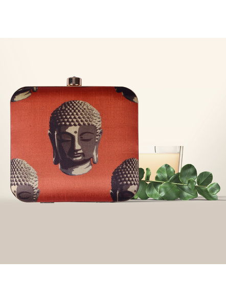 Handcrafted American Crepe Square Buddha Face Clutch-LAA-CLUTCH-007