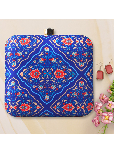 Handcrafted American Crepe Blue Floral Designer Clutch-LAA-CLUTCH-003