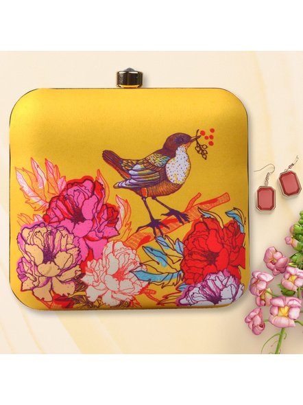 Handcrafted American Crepe Bird with Flower Clutch-LAA-CLUTCH-002