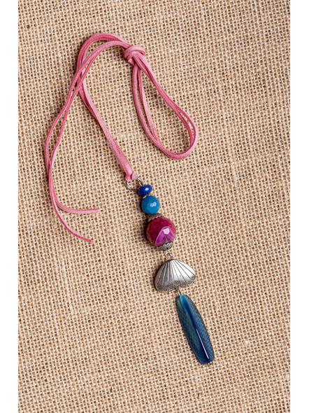 Handmade Semi-Precious Stones Sleek Pendant Strung with Suede Cord-1