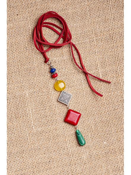 Semi-Precious Stones Sleek Pendant Strung with Suede Cord-1