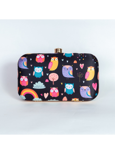 Handcrafted American Crepe Black Owl Clutch-2