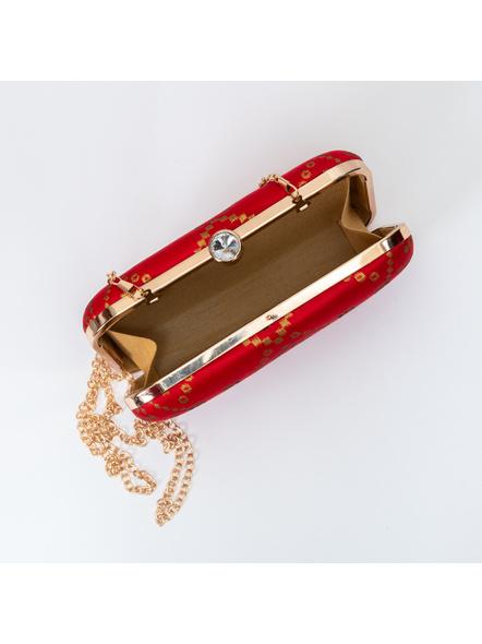 Handcrafted Red Brocade Clutch cum Sling-2