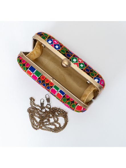 Handcrafted Embroidery Rangoli Clutch-LAA-CLUTCH-016