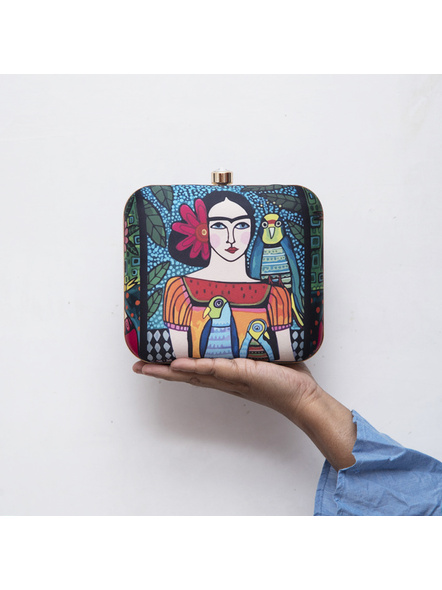 Handcrafted American Crepe Square Frida Kahlo Clutch-LAA-CLUTCH-012