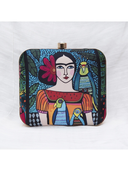 Handcrafted American Crepe Square Frida Kahlo Clutch-3