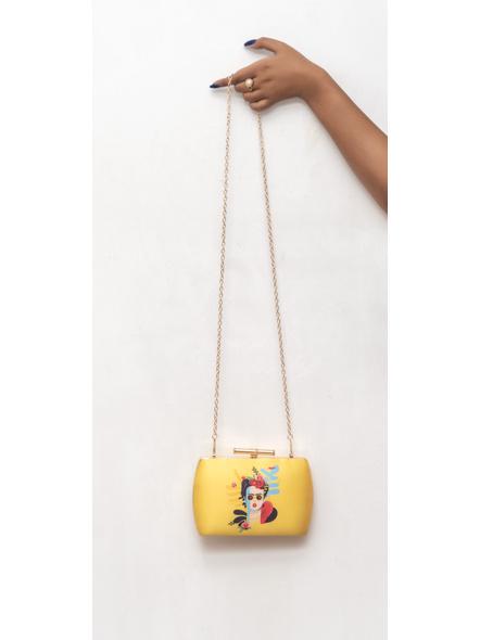 Handcrafted American Crepe Yellow Frida Kahlo Designer Clutch-LAA-CLUTCH-015