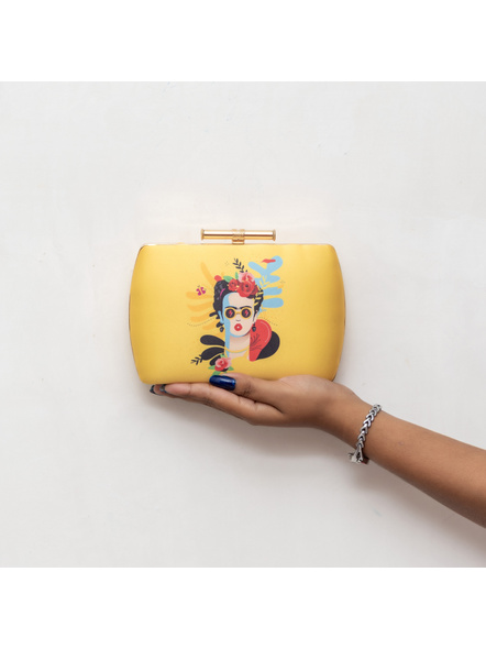 Handcrafted American Crepe Yellow Frida Kahlo Designer Clutch-1