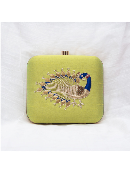 Handcrafted Hand Embroidered Peacock Raw Silk Clutch - Lime Green-LAA-CLUTCH-011