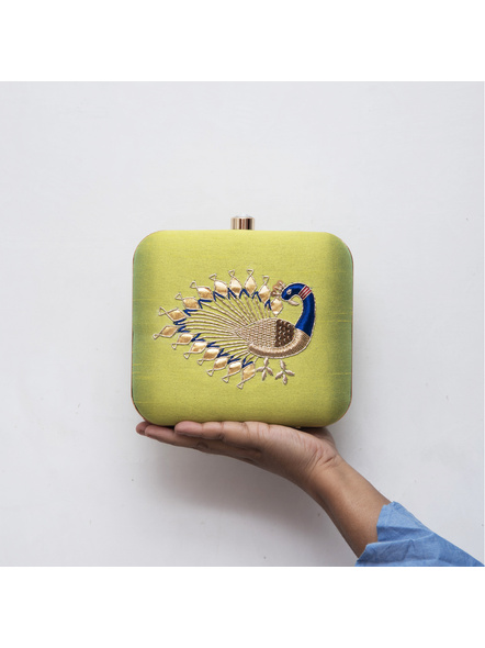 Handcrafted Hand Embroidered Peacock Raw Silk Clutch - Lime Green-2