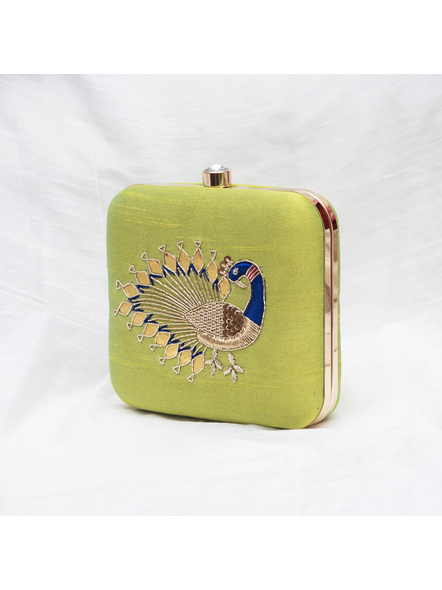 Handcrafted Hand Embroidered Peacock Raw Silk Clutch - Lime Green-3