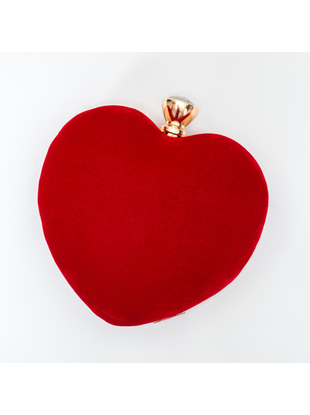 Handcrafted Red Velvety Heart Clutch-LAA-CLUTCH-017
