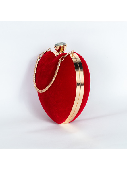 Handcrafted Red Velvety Heart Clutch-1