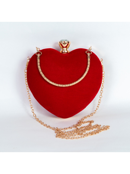 Handcrafted Red Velvety Heart Clutch-3
