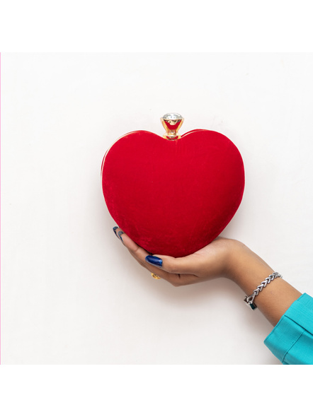 Handcrafted Red Velvety Heart Clutch-4