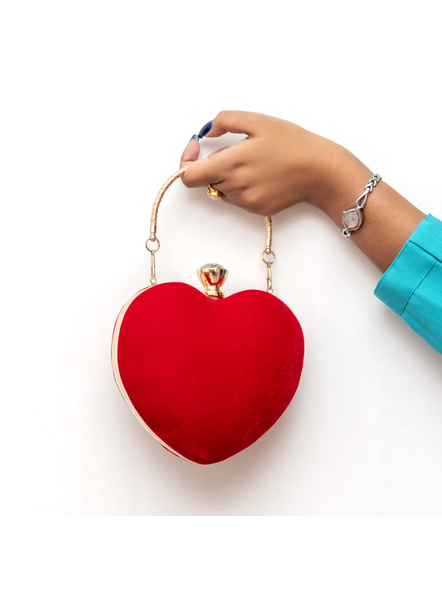 Handcrafted Red Velvety Heart Clutch-5