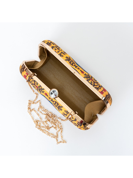 Handcrafted American Crepe Yellow Fish Cluster Madhubani Clutch-1