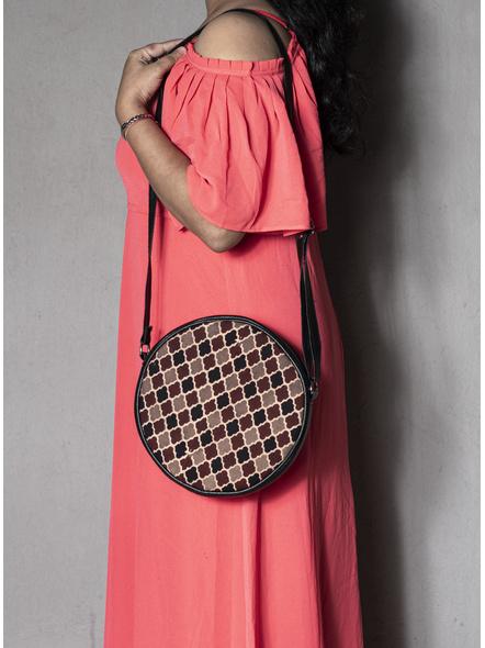 Handcrafted Stylish Circular Ajrakh Sling Bag-LAACSSB007