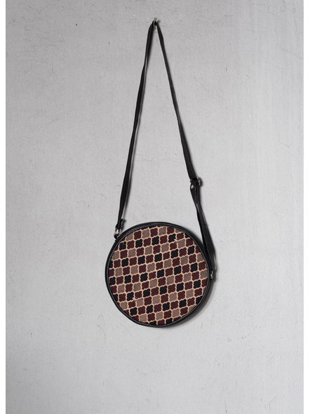 Handcrafted Stylish Circular Ajrakh Sling Bag-1