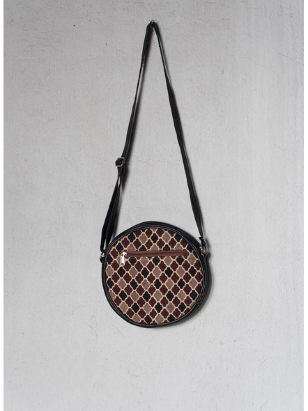 Handcrafted Stylish Circular Ajrakh Sling Bag-2