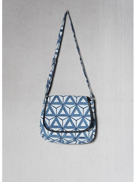 Triangular Indigo Sling Bag-LAA-SLING-010