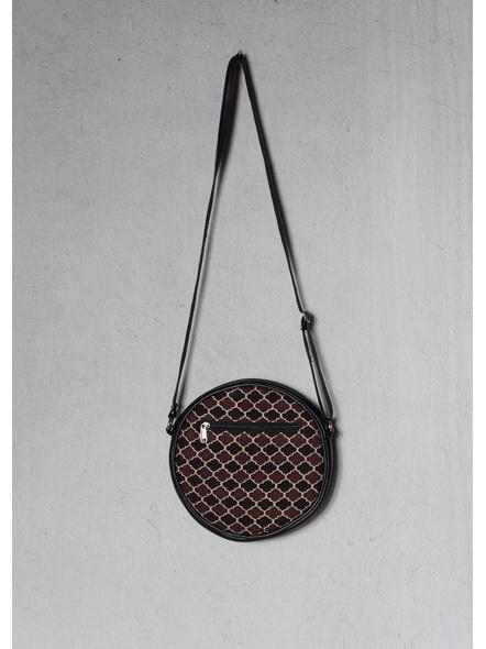 Handcrafted Circular Stylish Brown Ajrakh Sling Bag-LAACSSB001
