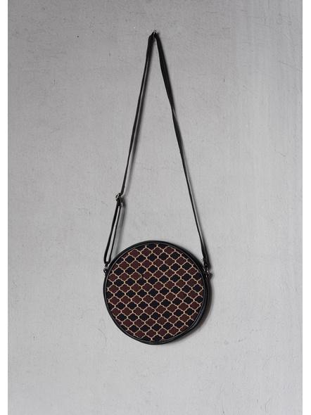 Handcrafted Circular Stylish Brown Ajrakh Sling Bag-1